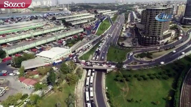 15 Temmuz Demokrasi Otogarı'nda kilometrelerce otobüs kuyruğu havadan görüntülendi