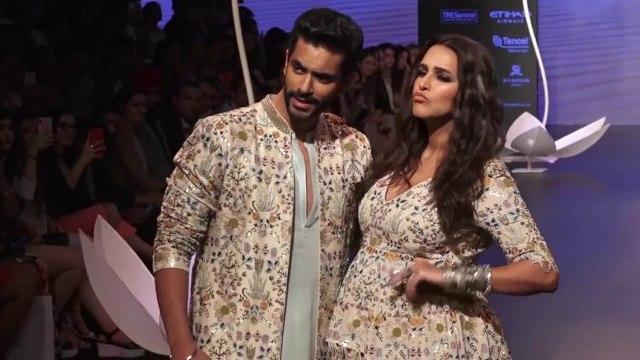 Pregnant Neha Dhupia Ramp Walk With Husband Angad Bedi at Lakme Fashion Show 2018