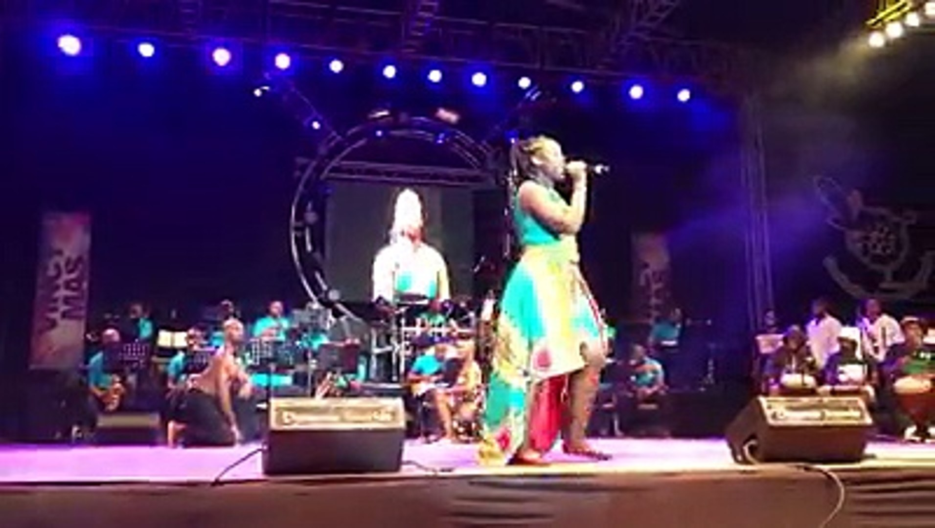 Sheena Collins performing 'Caribbean Angels' in the second round of the Calypso finals at