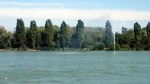 Les premières images du nouveau jet d'eau du lac de Vaivre (Haute-Saône)