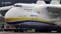 Biggest plane in the world uses all six engines to take off