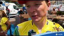 Interview du maillot jaune : GUICHARD Mickael, général individuel au temps - Région Guadeloupe, Nicolas ROUX - TEAM PRO IMMO lors de cette 5ème étape du Tour Cy
