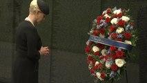 Cindy McCain attends wreath laying ceremony for Sen. John McCain at Vietnam Veterans Memorial