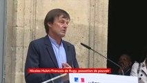 """""""Je n'ai pas réussi à combler cette ligne de faille, entre deux cultures, entre deux intelligences : l'économie et l'écologie. Mais ça n'est pas une fatalité"""", affirme Nicolas Hulot lors de la passation de pouvoir au ministère de la Transition écologique."""