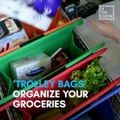 These bags fit perfectly in your shopping cart so you don't have to bag your groceries