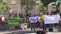 Activists in Israel protest during the visit of President Rodrigo Duterte