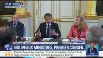 """""""Beaucoup de choses nous attendent (...) rien de ce que nous entreprenons n'est fait sous la pression des médias"""", affirme Macron en conseil des ministres"""