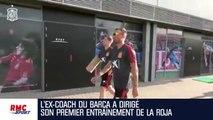 Espagne : Luis Enrique posté sur un échafaudage pour suivre l'entraîneur