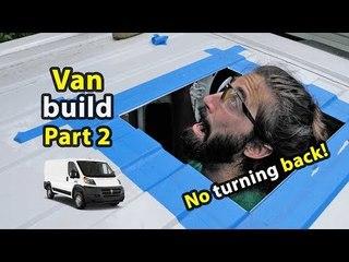 Cutting a Hole in Alex's Van | Solar, Fridge, Inverter & Roof Fan Install!