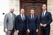 Conférence de presse conjointe d'Emmanuel Macron, Xavier Bettel, Charles Michel et Mark Rutte