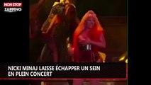 Nicki Minaj laisse échapper un sein en plein concert (vidéo)