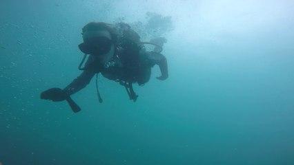 plongée de Théo à Doussard