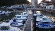 Paisaje: Anochecer hoy 21 nov en el puerto de Candás, Carreño, Asturias, mar Cantábrico