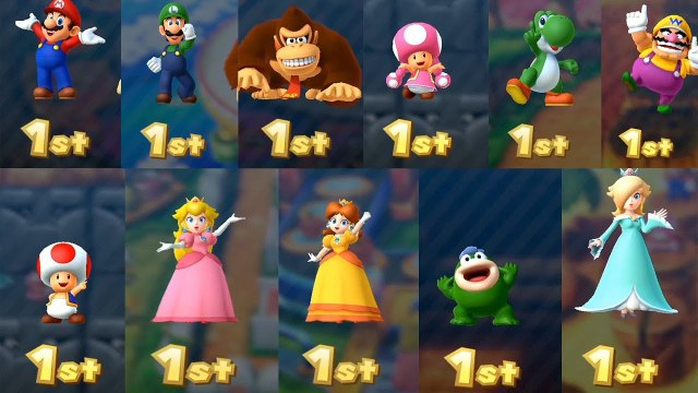 Mario Party 10 All Characters Celebrate 1st Animation - Coin Challange