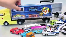 Car Carrier Police Pororo Tayo The Little Bus Garage Learn Numbers Colors Toy Surprise