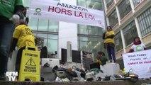 Pour le Black Friday, ils déposent des déchets électroniques devant Amazon France