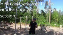 Outdoor body weight, Workout!  Hello and welcome to this workout exercise video with Andreas. In this exercise routine you will see: Pullups Chinups Dips Press workout lifting a log.