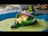 Chiles Rellenos de Cecina en Salsa de Cilantro