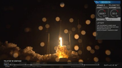 Launch & Landing of SpaceX Falcon 9 with Telstar 18V
