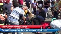 Vatandaşlar yaralının başında şemsiye nöbeti tuttu