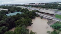 Crazy drone footage shows Texas flooding