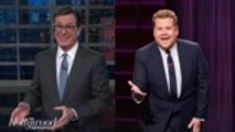 Stephen Colbert and James Corden Address Leslie Moonves Controversy | THR News