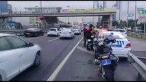 E-5 Otoyolunda motorize polis ekipleri kaza yaptı: 2 polis yaralı