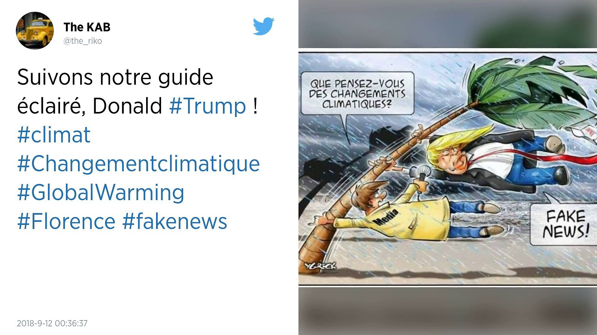 Face à l'ouragan Florence, Trump fait… du Trump !