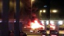 E-5 Karayolu Yenibosna mevkiinde araç alev alev yandı