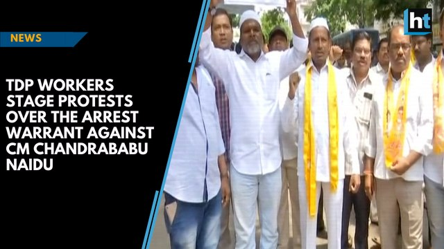 TDP workers stage protests over arrest warrant against Chandrababu Naidu