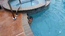 Un bébé nage dans une piscine