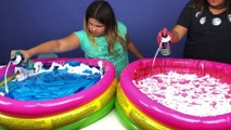 Super Fluffy Pools Full Of DIY Slime ELMER'S FLUFFY GLUE ALL VS AMAZON BASICS FLUFFY SCHOOL GLUE