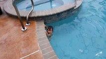 Un bébé de 12 mois nage dans une piscine
