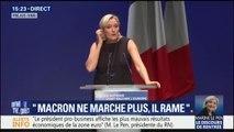 """""""Il n'y a plus d'argent... mais il y en a pour l'immigration."""" Marine Le Pen fustige la politique d'Emmanuel Macron à Fréjus"""
