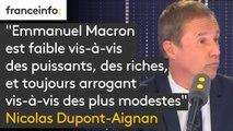 """Propos de Macron à un chômeur: """"Emmanuel Macron est faible vis-à-vis des puissants, des riches, et toujours arrogant vis-à-vis des plus modestes"""", juge Nicolas Dupont-Aignan"""