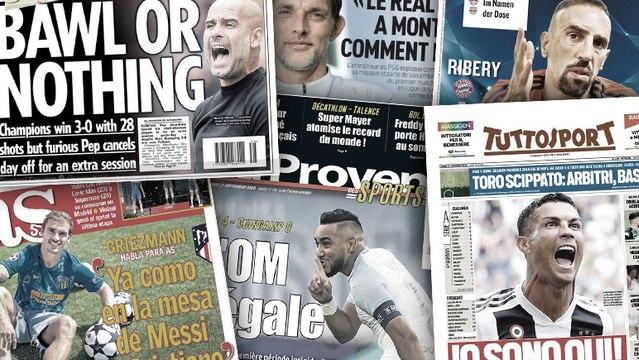 La presse italienne s'enflamme pour CR7, Pep Guardiola furieux contre ses joueurs