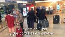 Les cordistes en action à la gare de Dijon