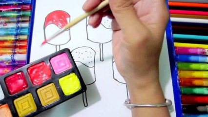 Teach Drawing Cake, Ice Cream to Kids - Coloring Pages Bows for Learning Colors