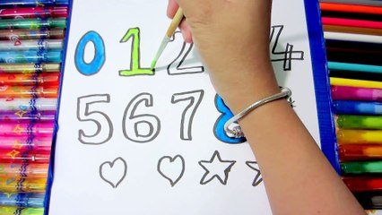 Art For Kids- How to Draw Numbers and Colorful Hands for Kids Learning Colors