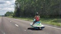 Man Seen Driving jet ski Down Highway