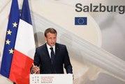 Conférence de presse du Président de la République, Emmanuel Macron, à Salzbourg à la fin du sommet européen informel