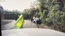 Ce policier sauve la vie d'un homme en le poussant de la route face à un 4x4 en dérapage