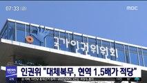 """인권위 """"대체복무, 현역 1.5배가 적당"""""""