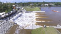 Drone footage shows large-scale flooding in Fayetteville, North Carolina