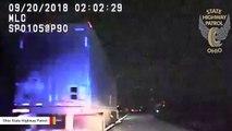 Dashcam Video: Semi-Truck Sideswipes Trooper's Patrol Car