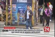 Escolar atropellado por bus del Metropolitano solo presentó daños superficiales