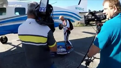 Austrian Guy Doing Sky Diving Stunt With His Vespa Bike