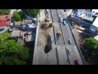 Imágenes de un drone muestran socavón del Paso Express