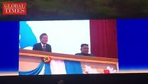 South Korean President Moon Jae-in and #NorthKorean leader #KimJongun watched a performance by the Samjiyon Band at the Pyongyang Grand Theater in Pyongyang on