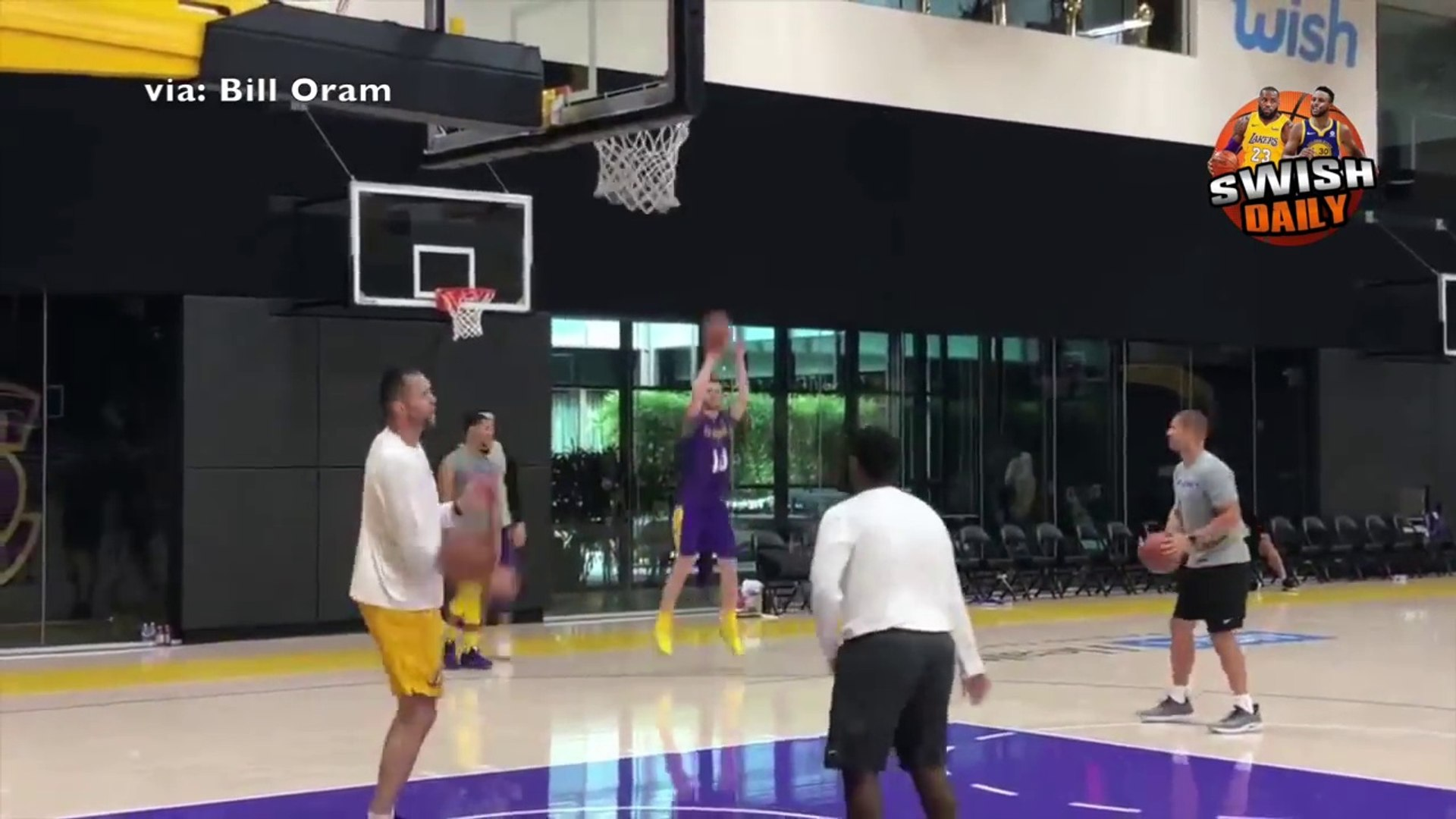 Lonzo Ball joins in as LeBron and the rest of the Lakers work hard on their 3 point shooting